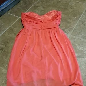 bebe Dresses - Short coral strapless be be xs dress chiffon
